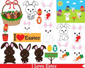 34 PNG Files- Easter Bunny Clipart + Outline- Digital Clip