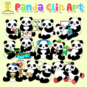 34 Panda Clip Art (clipart) images in educational settings - Color and B&W
