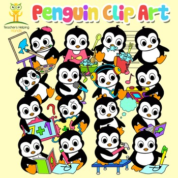 34 Penguin clip art images in educational settings - Colour and B&W