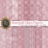 34 Rosegold Glam Digital Papers Sequin Glitter Luxury Papers
