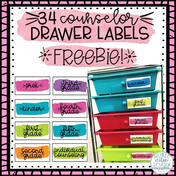34 School Counselor 10-Drawer Cart Organizer Labels FREEBIE!