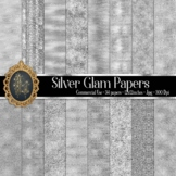 34 Silver Glam Digital Papers Sequin Glitter Luxury Papers