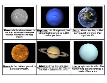 34 Solar System Fact and Picture Cards