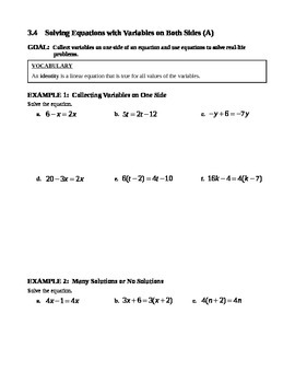 3.4 Solving Equations with Variables on Both Sides