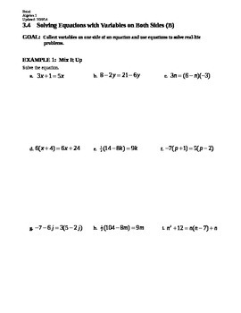 3.4 Solving Equations with Variables on Both Sides (Day 2)