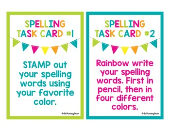 34 Spelling Center Task Cards for ANY Primary Grade Word List!