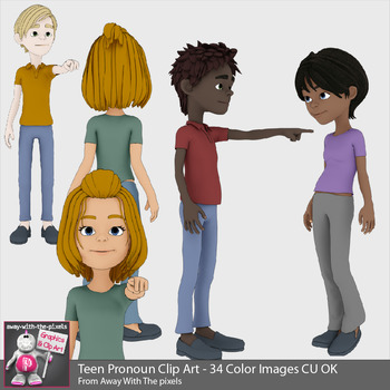 34 Teen Pronoun Clip Art Beginner Grammar & ESL Resources - Grammar Clipart