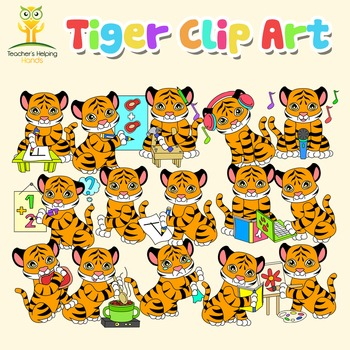 34 Tiger clip art (clipart) images in educational settings - Color and B&W