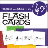 34 Music Flash Cards | Treble and Bass Clef (Digital Print)