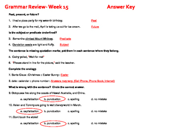 34 Weekly Grammar Worksheets/Quizzes for 3rd Grade