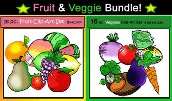 34 pc. Fruits & Veggies Bundle Clip-Art Set: 17 B&W, 17 Color