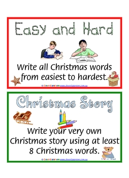 34 x Christmas Writing Task Cards - 17 pages