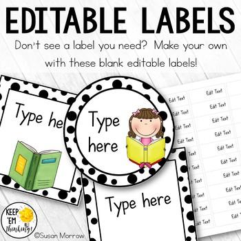 340 Black and White Polka Dot Book Bin Labels