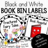 340 Black and White Polka Dot Book Bin Labels