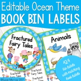 Classroom Library Labels: 424 Book Bin Labels & Matching Book Labels Ocean Theme
