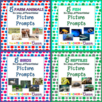 35 Animals No-prep, Differentiated Picture Prompts for Writing Mini Bundle
