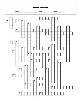 35 Answer Invasion in Science Fiction Literature and Film Crossword with Key