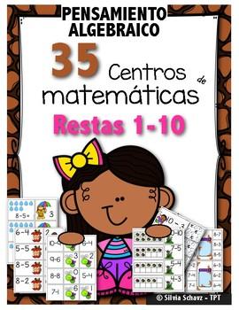35 Centros de aprendizaje de matemáticas para practicar restas del 1 a 10