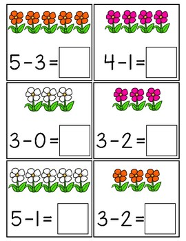 40 Centros de aprendizaje de matemáticas para practicar substracción del 1 a 5
