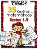 35 Centros de aprendizaje de matemáticas para practicar restas del 1 a 5