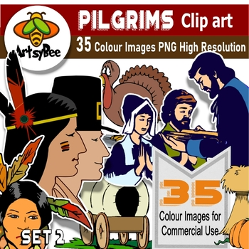 35 Clip Art Images American Pilgrim History 1620 SET 2 - PNG for commercial use