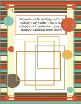 35 Clip Art Borders! (Birthday Party Color Palette)  Personal and Commercial Use