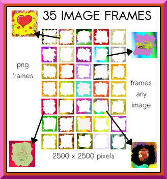 35 Colorful Frames For Any Image, PNGs, Commercial OK