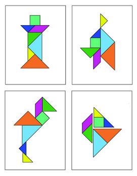 35 Different Tangram Puzzles - Black & Color