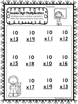 35 Double Digit Multiplication Worksheets. 2nd-4th Grade ...