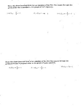 3.5 Double Sided Parallel Perpendicular Lines Slope Intercept Form Quiz
