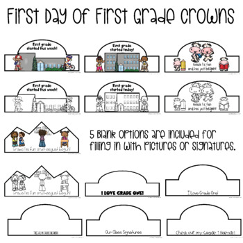 35 First Grade 1st Day & Week of School Crowns