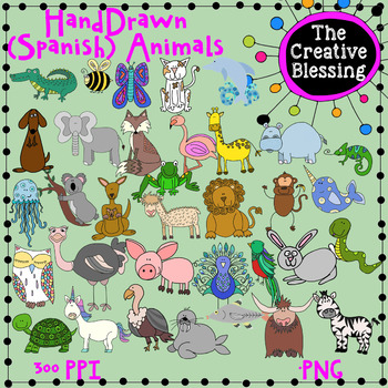 35 Hand Drawn Alphabet Animals Clip Art ( English and Spanish Animals)
