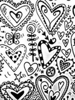 "35 Heart Doodles ""Inspiration Resource Sheet"" for Heart  Art Projects"