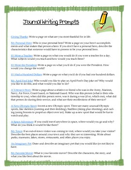 35 Journal Writing Prompts!