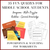 35 Fun Quizzes for Middle School - Anagrams, Riddles, Gene