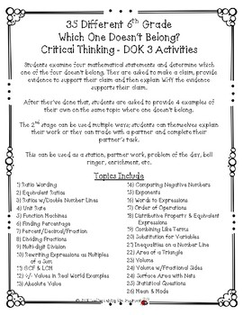 35 NEW 6th Grade Which One Doesn't Belong? Critical Thinking - DOK 3 Activities