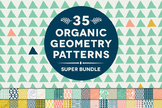 35 Organic Geometry Digital Patterns Super Bundle