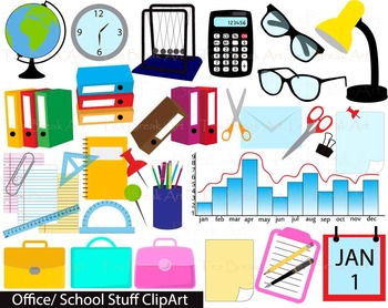 35 PNG Files- Office/School Stuff Digital Clipart-  114
