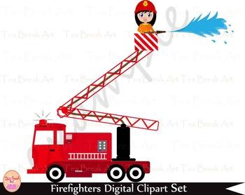 35 PNG- Firefighters Girls Set Clipart - Digital Clip Art- 300 dpi 034