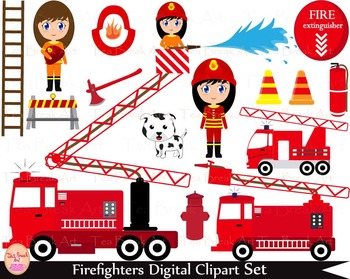 35 PNG- Firefighters Girls Set Clipart - Digital Clip Art- 300 dpi 034