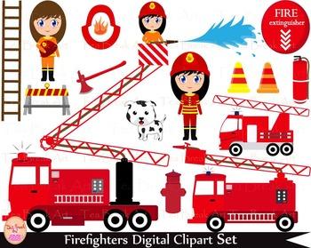 35 PNG- Firefighters Girls Set Clipart - Digital Clip Art-