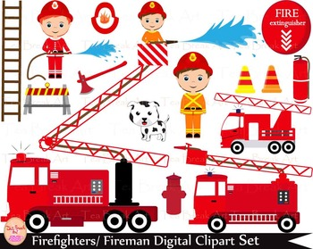 35 PNG- Firefighters Set Clipart - Digital Clip Art - 300 dpi 033