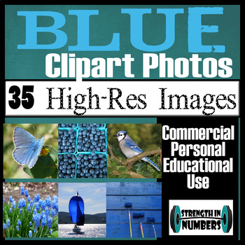 35 Photos BLUE Objects Commercial Clip Art High Res Photographs