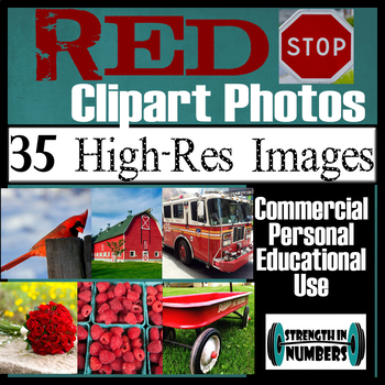35 Photos RED Objects Commercial Clip Art High Res Photographs