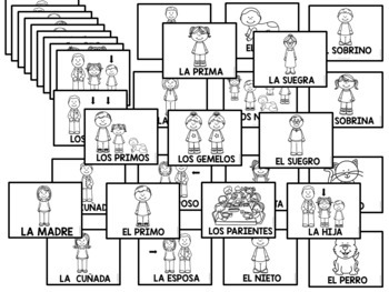 35 Spanish Family Flashcards (BLACK AND WHITE)