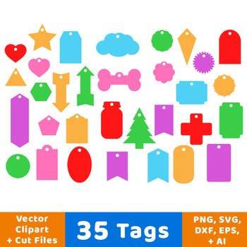 35 Tags Vector Clipart, Printable Tags, Gift Tags, Product Tags, Labels