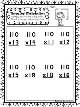 35 Three Digit Multiplication Printable Worksheets. 2nd-4th Grade Math.