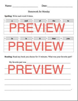 35 Weeks of Spelling & Reading Homework