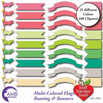 Banners Clipart, Bunting Clipart, Flag Clipart, ( Best Teacher Tools ] AMB-303