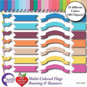 Banners Clipart, Bunting Clipart, Flag Clipart, AMB-303